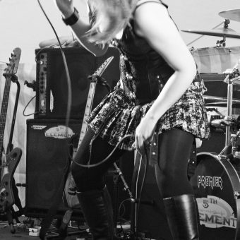 Ann head-banging, black and white.