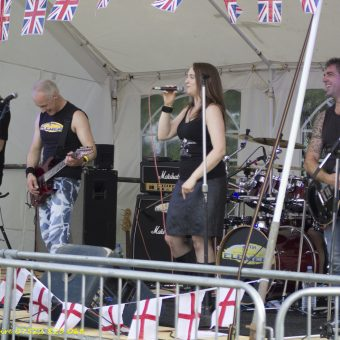 The whole band performing on stage.
