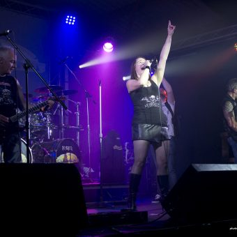 The whole band on stage, performing. Ann singing with her left hand raised.