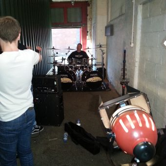 Neil, Sam and Phil chatting during filming.