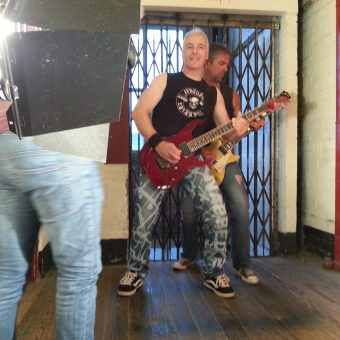 Neil and Alan being filmed.