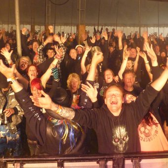 The crowd at the Farmyard Rally, cheering and waving their arms.