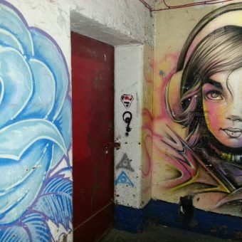 A mural graffiti design of a girl listening to music on headphones and a blue rose.