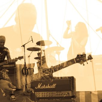 The band, multi-layered effect, sepia.