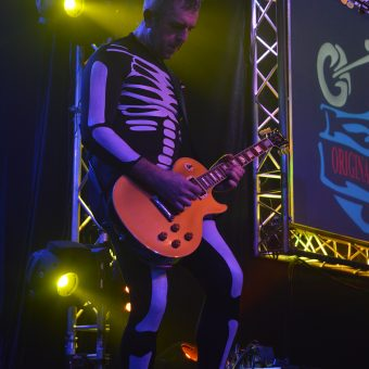 Alan playing guitar, wearing a skeleton costume.