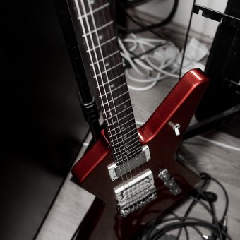 Neil's red Ibanez guitar.