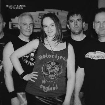 Richard, Neil, Ann, Alan and Phil, posing. Black and white.