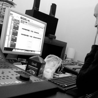 Neil Treppas , sound engineer, working in the studio.