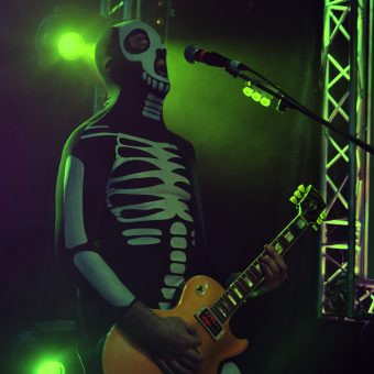 Alan playing guitar, dressed as a skeleton.